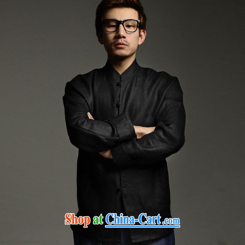 Fujing Qipai TANG Kam cotton hand-tie Chinese business jacket China wind original design and spring loaded 143 black M