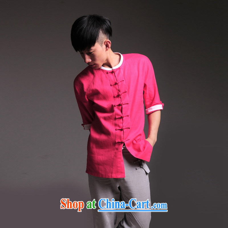 Fujing Qipai Tang peach male Tang is a refreshing short-sleeved T-shirt high-end linen T shirts young Tang service knocked color summer 49 peach XL