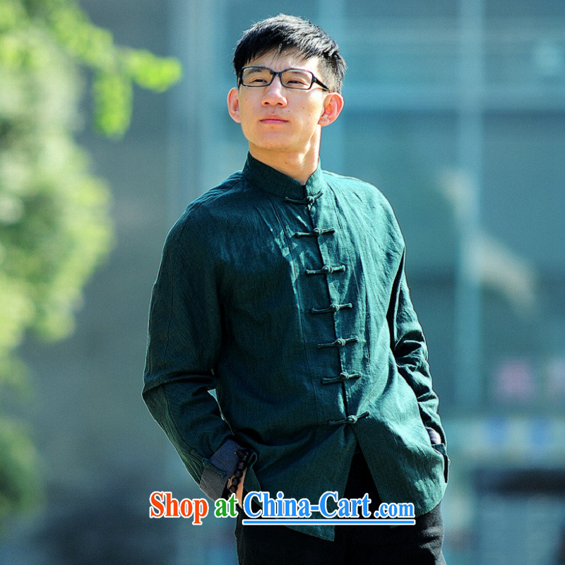 Fujing Qipai Tang Style Tang with the original design of the hard-pressed flax manual has been detained long-sleeved T-shirt jacket Chinese-buckle up for 2014 spring men's new shirt 93 dark green XL