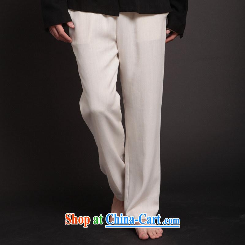 Fujing Qipai Tang Tang pants men pants TENCEL men's trousers linen crisp trousers Chinese loose Elastic waist white kung fu trousers 257 white XL