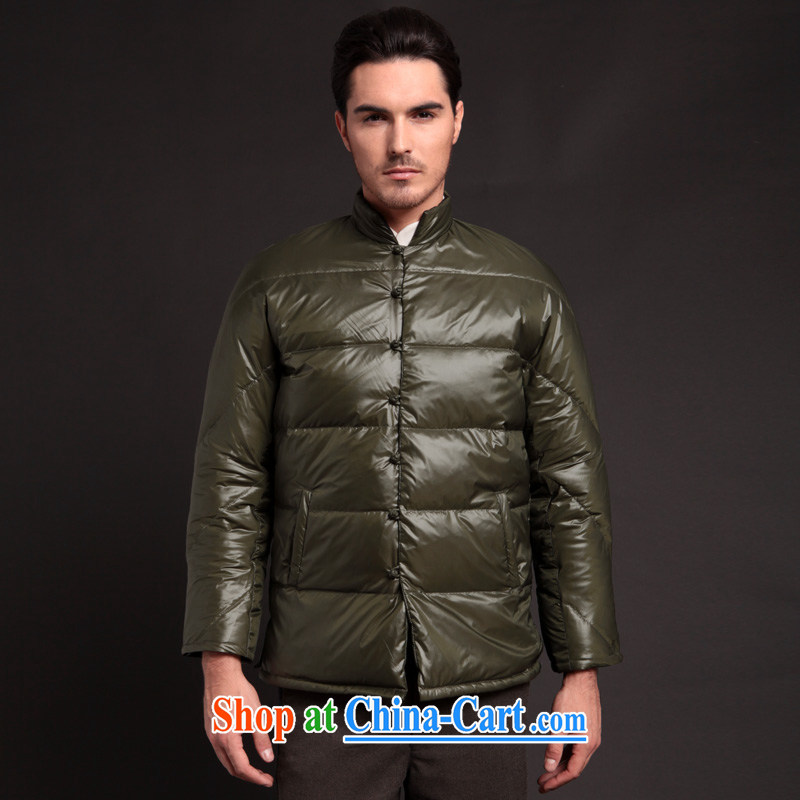 Fujing Qipai Tang Chinese high-end down jacket casual stylish short jacket high quality Chinese men and replacing the charge-back the collar down jacket winter clothing 284 black M