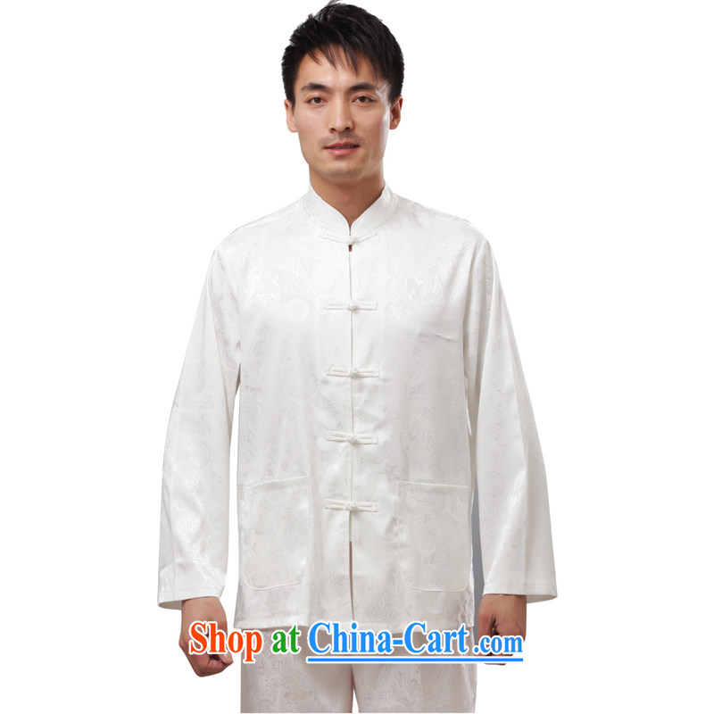 This figure skating pavilion, older men's summer wear national costumes Tang long-sleeved T-shirt with the collar-tie casual clothes - New T-shirt white long-sleeved 4 XL