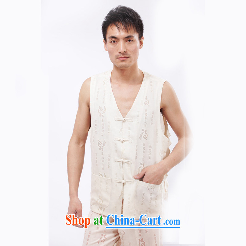 Yan Shu GE older male Tang replace summer V-neck-tie vest men's Sleeveless vest relaxed and comfortable T-shirts, shoulder, field vest jacket beige short-sleeved 4 XL
