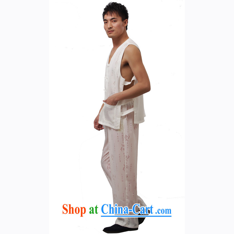 Yan Shu in older men's kung fu with summer traditional Chinese exercise clothing sleeveless vest V collar vest the shoulder Package - well field vest Kit white short-sleeved 4 XL