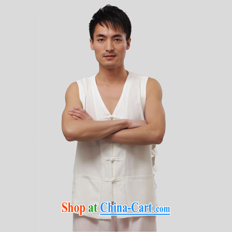 Yan Shu GE older male Chinese summer morning exercise clothing sleeveless vest T-shirts V collar, a T-shirt, Liffey shoulder T-shirt - print a T-shirt white short-sleeved 2XL