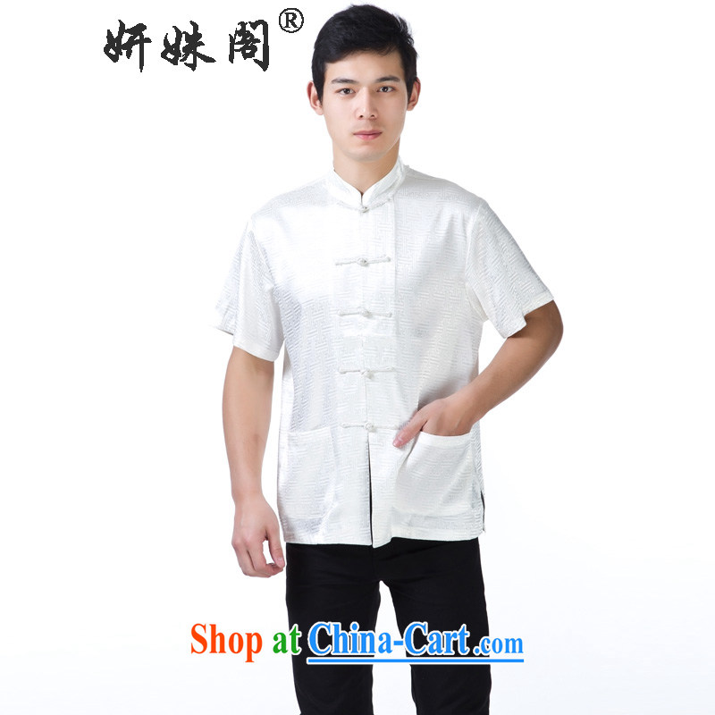 Yan Shu GE older men and Tang with the collar-tie casual half sleeve T-shirt Dad loose short-sleeved national traditional summer-temperature anyway streaks white short-sleeved 4 XL