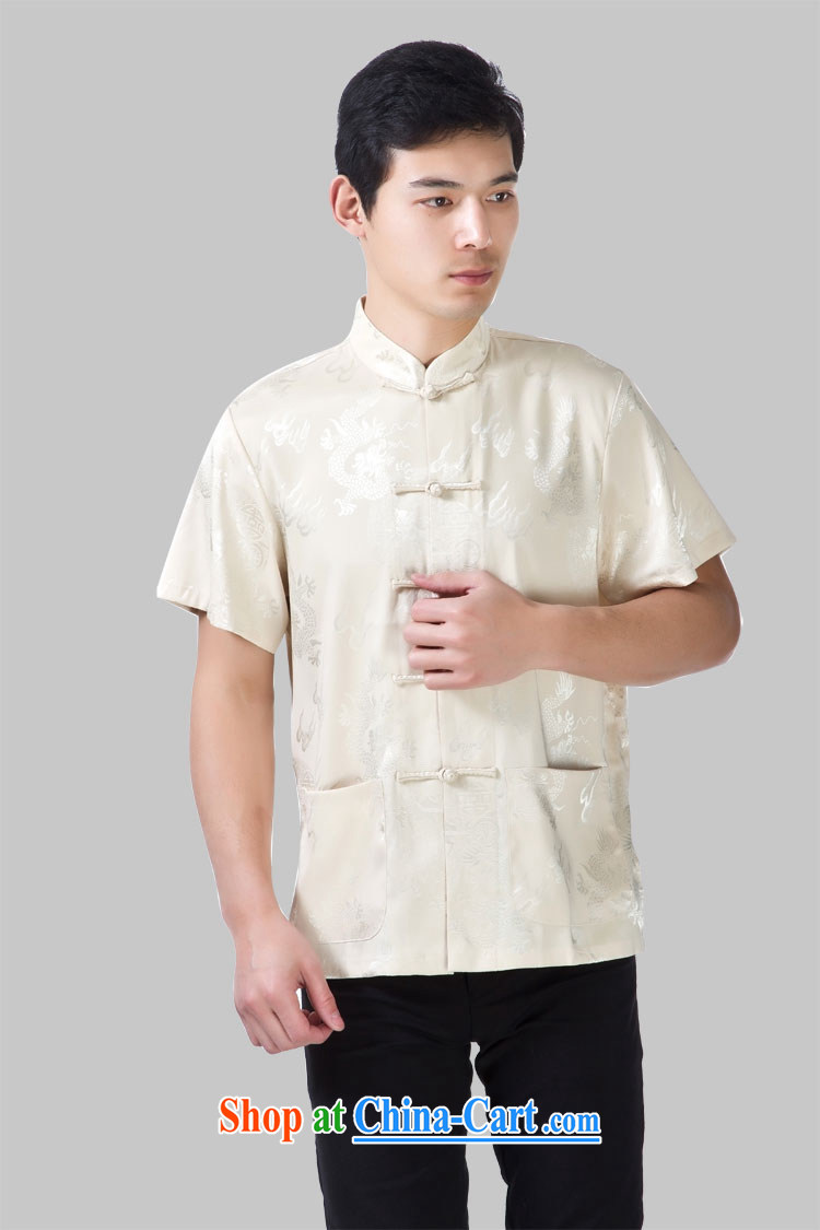 Yan Shu in older men聽, for the charge-back short-sleeved T-shirt Chinese traditional dress father relaxed T-shirt half sleeve - Wen Dragon beige short-sleeved 4 XL pictures, price, brand platters! Elections are good character, the national distribution, so why buy now enjoy more preferential! Health