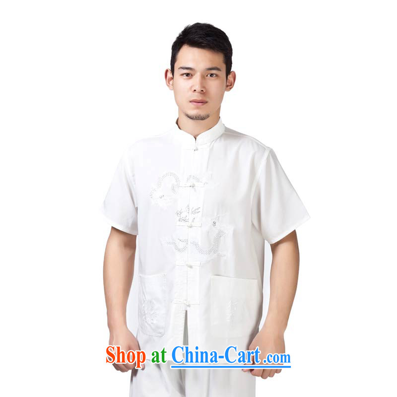 This figure skating Pavilion middle-aged men and summer wear national costumes with short short-sleeved T-shirt Dad loose jogging clothes men Tang - cotton double Dragon T-shirt white short-sleeved 3XL