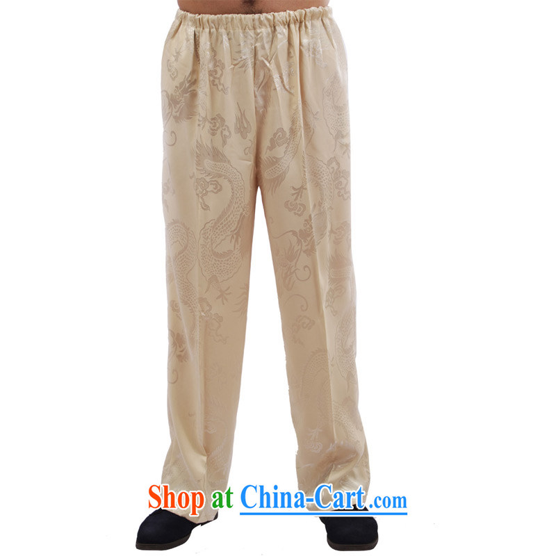 Yan Shu GE older men and fall with Tang pants traditional national dress Elasticated waist high sports pants exercise clothing - Large Dragon pants beige 4 XL