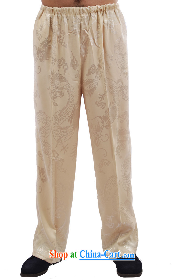 Yan Shu GE older men and fall with Tang pants traditional national dress Elasticated waist high sports pants exercise clothing - Large Dragon pants beige 4 XL pictures, price, brand platters! Elections are good character, the national distribution, so why buy now enjoy more preferential! Health