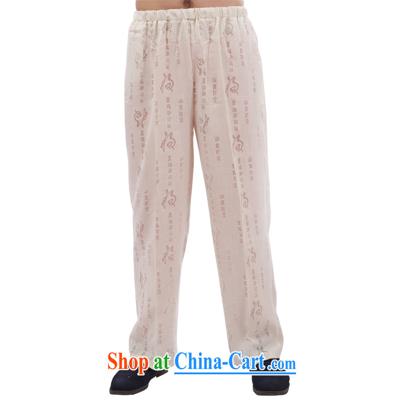 This figure skating pavilion, older men and fall with Tang pants relaxed casual morning exercise clothing elasticated high waist trousers traditions - Field trousers white 4XL