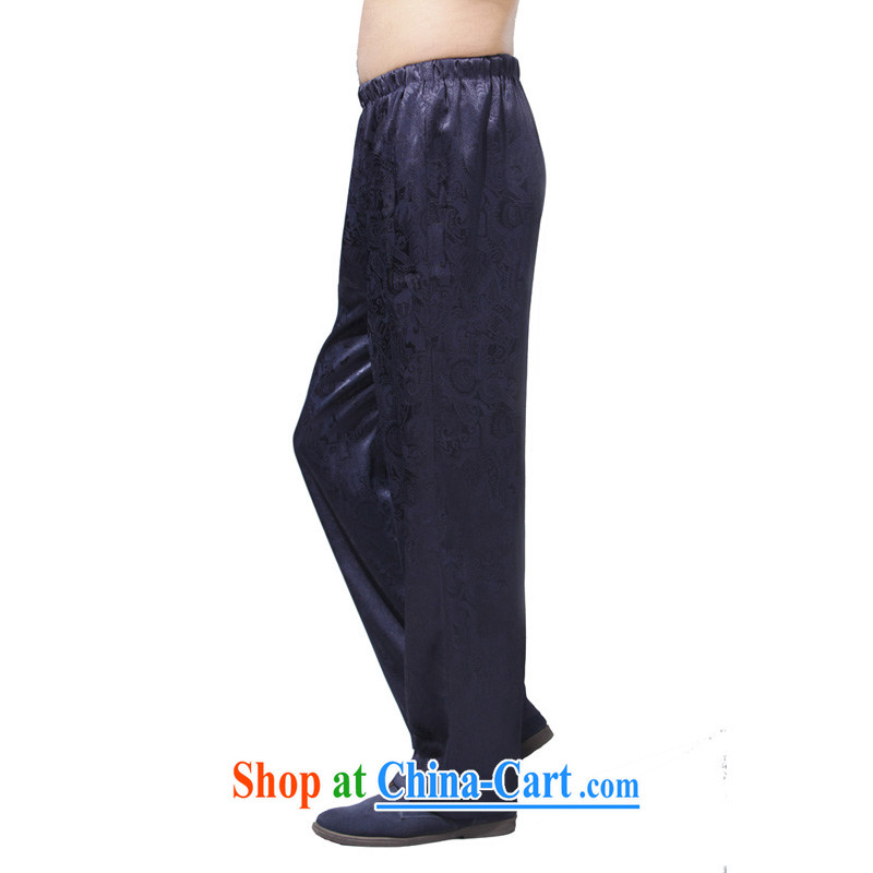 Yan Shu GE older male Chinese autumn pants traditional national costume loose jogging pants elasticated waist high pants - bright blue trousers 2 XL
