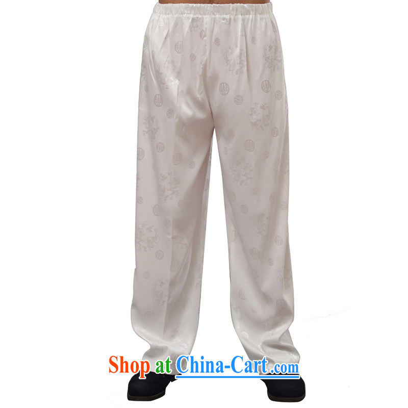 Yan Shu GE older men's autumn pants traditional national costume jogging pants casual relaxed elasticated waist trousers - a long pants white 4XL