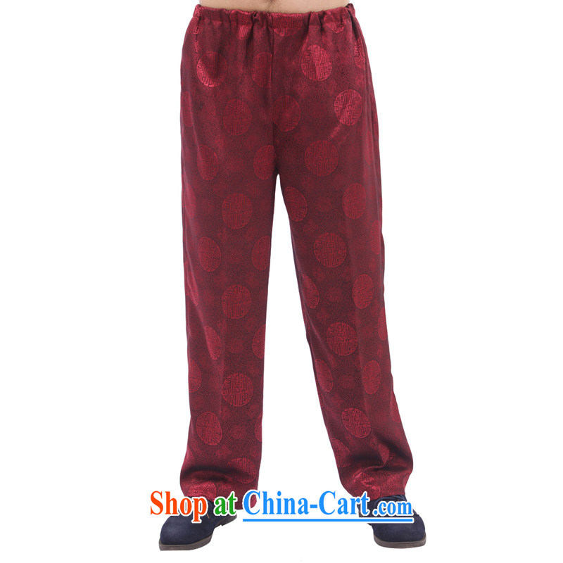 Charlene this Autumn Pavilion in older male Chinese Ethnic Wind trousers Elasticated waist high loose trousers jogging comfortable men's trousers - the HI pants wine red 4 XL