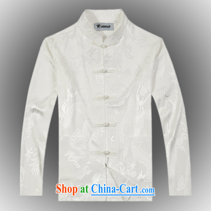 2015 spring new products, the BMW China wind long-sleeved Chinese men's T-shirt T shirts stylish silk Tang uniform shirt white XXXL