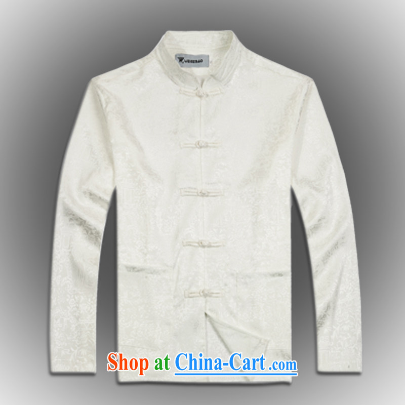 2015 spring new products, the BMW China wind long-sleeved silk Chinese men's T-shirt T shirts stylish Tang service shirt white XXXL