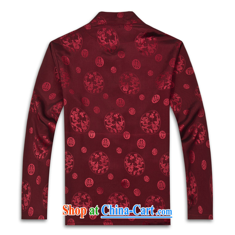 2015 spring new products, the BMW China wind long-sleeved Chinese silk men's T-shirt T shirts and stylish Tang service shirt red XXXL, the Federal core Chai, who, and shopping on the Internet