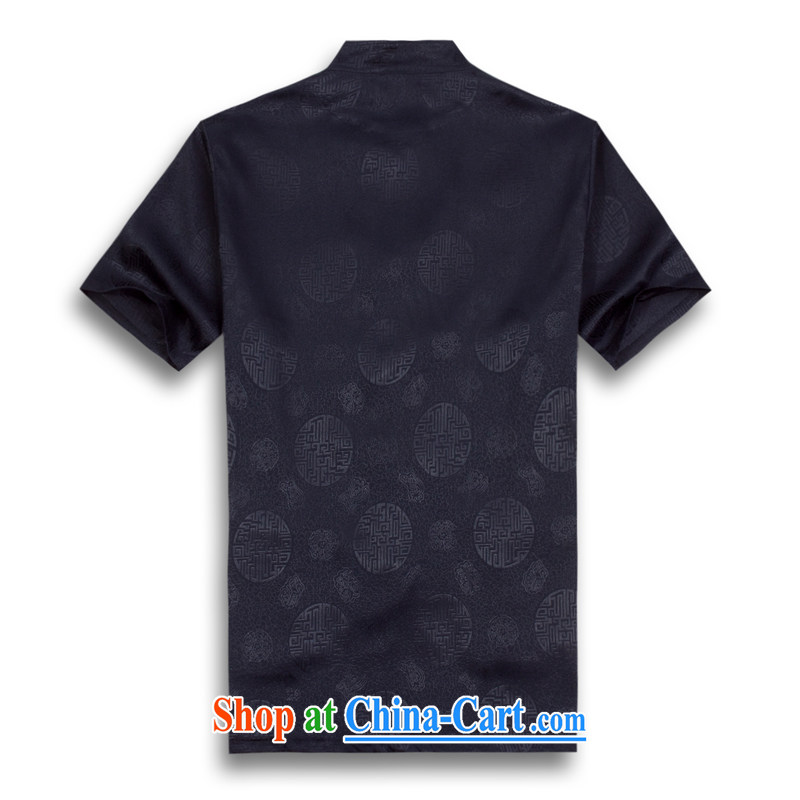 VeriSign, Po 2015 summer new Chinese wind short-sleeved Chinese men's T-shirt T shirts stylish Tang service shirt B - 002 blue XXXL, the fruit, and, shopping on the Internet