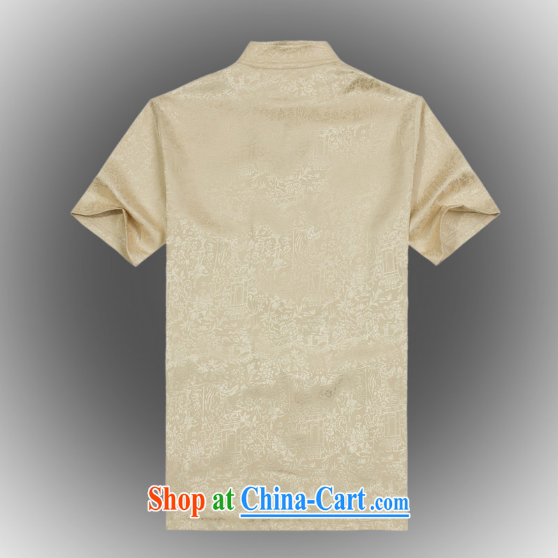 VeriSign, Po 2015 summer new Chinese wind short-sleeved Chinese men's T-shirt T shirts stylish Tang service shirt B - 003 beige XXXL, law, and, on-line shopping