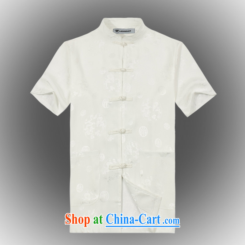 VeriSign, Po 2015 summer New Products China wind short-sleeved Chinese men's T-shirt T shirts stylish Tang service shirt B - 004 white XXXL