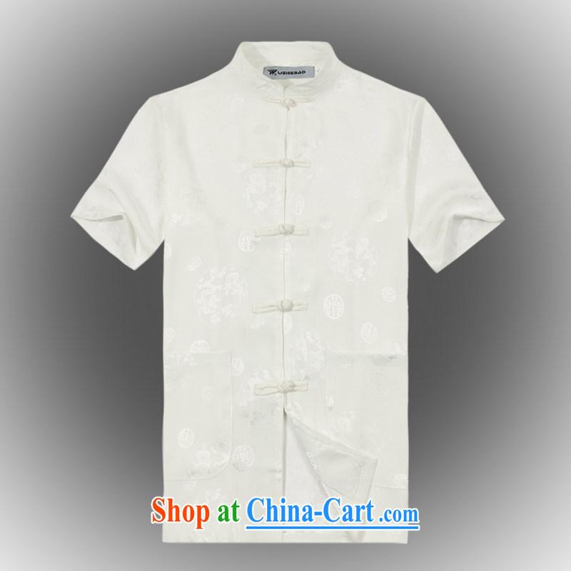 VeriSign, Po 2015 summer New Products China wind short-sleeved Chinese men's T-shirt T shirts stylish Tang service shirt B - 004 white XXXL