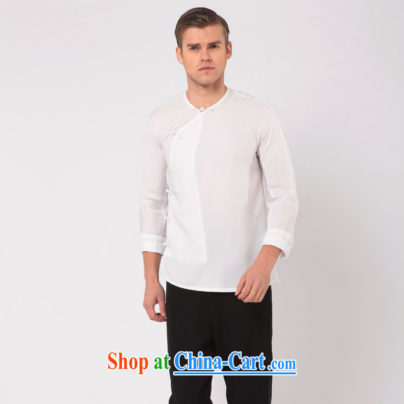 Fujing Qipai Tang Tang replacing men improved the service, short-sleeved shirt China wind stylish shirt national-tie a tight summer 7 cuff Fujing Qipai Tang 309 white XL