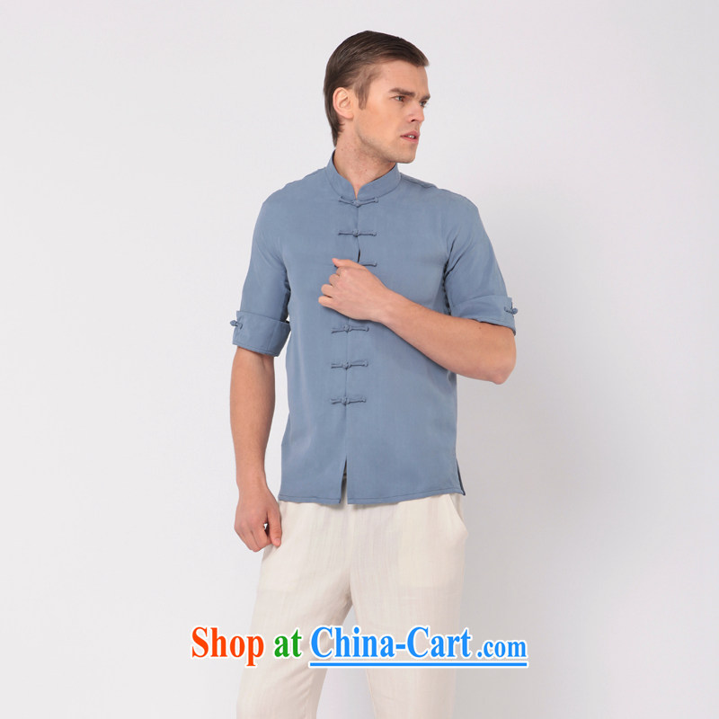 Fujing Qipai Tang China wind stylish Tang with a short-sleeved leisure-tie and collar T shirt thin TEE improved Chinese T-shirt National Men's summer day, 317 Lake blue L