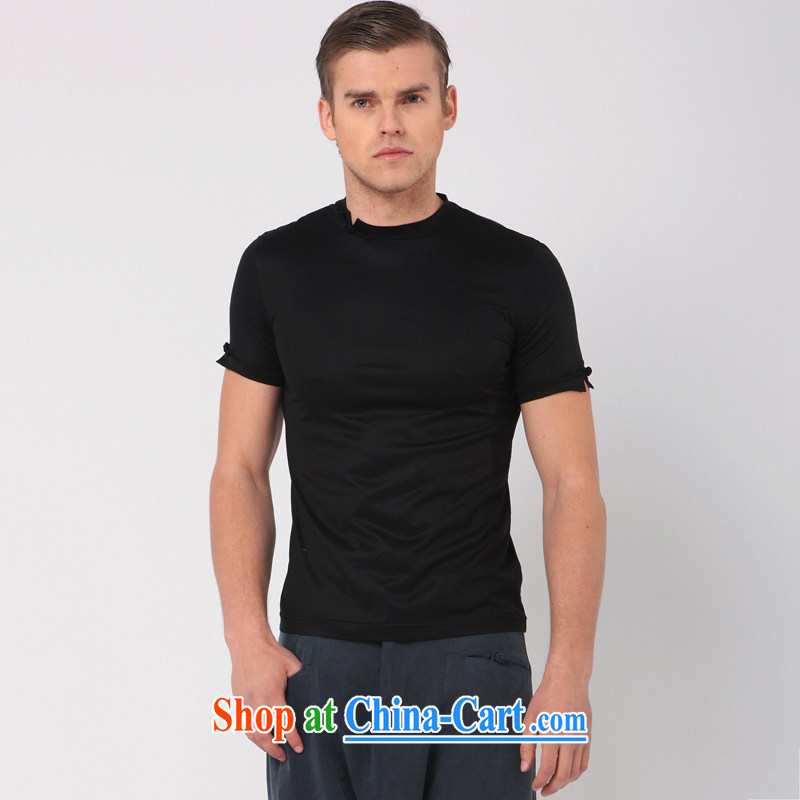 Fujing Qipai Tang Tang is the original high-end beauty short-sleeved T-shirt China wind leisure fashion male T pension with a solid color T-shirt 326 black S