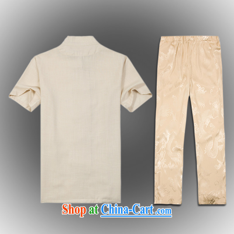 VeriSign, Po 2015 spring and summer, the older Chinese wind Tang replace Kit men's stylish Tang uniform shirt pants B - 001 A beige XXXL (56), Federal core Chai health, shopping on the Internet