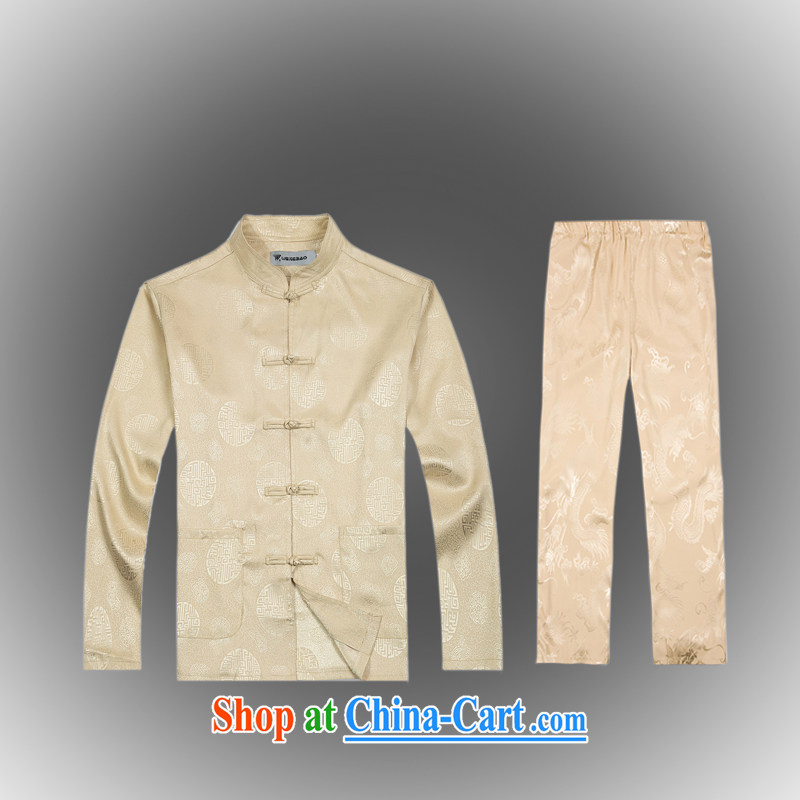 Hot Spring 2015 with new products, the BMW China wind Chinese men's T-shirt T pension package Tang service silk shirt B - 0116 A beige XXXL (56)