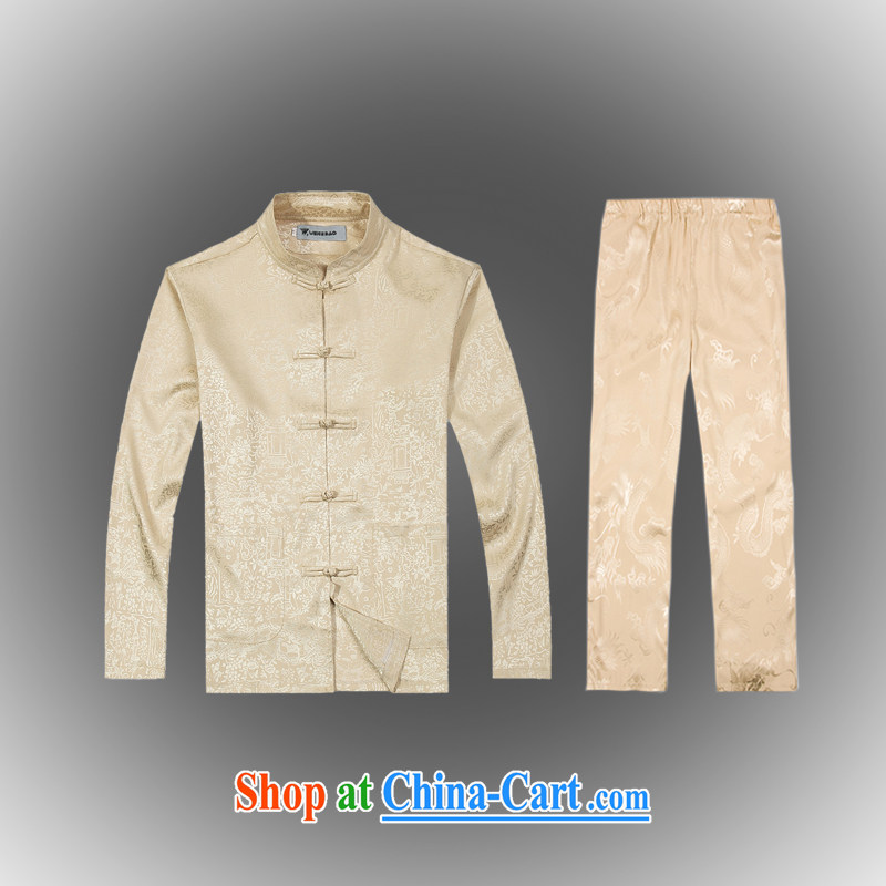Hot Spring 2015 with new products, the BMW China wind Chinese men's T-shirt T pension package Tang service silk shirt B - 0112 A beige XXXL (56)