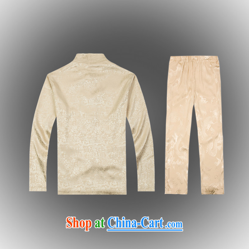 Hot Spring 2015 with new products, the BMW China wind Chinese men's T-shirt T pension package Tang service silk shirt B - 0112 A beige XXXL (56), Federal core Chai, who, on-line shopping