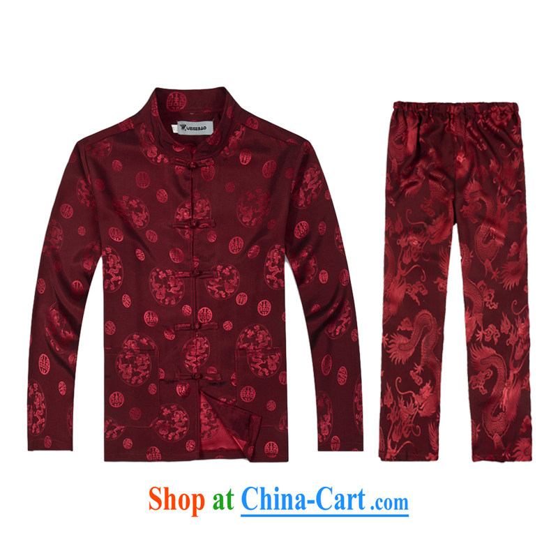 2015 spring new products, the BMW China wind long-sleeved Chinese men's T-shirt T pension package Tang service silk shirt B - 0111 A red XXXL (56)