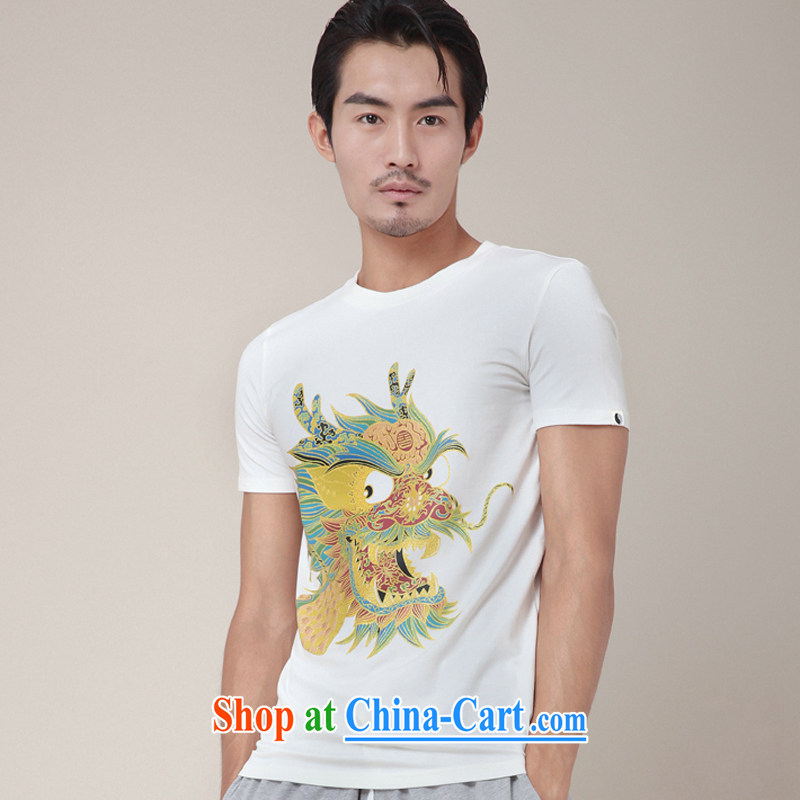 Fujing Qipai Tang without a road design, the Chinese short-sleeved hot stamp leading T pension new explosions, Chinese personality male and TEE 346 white XL
