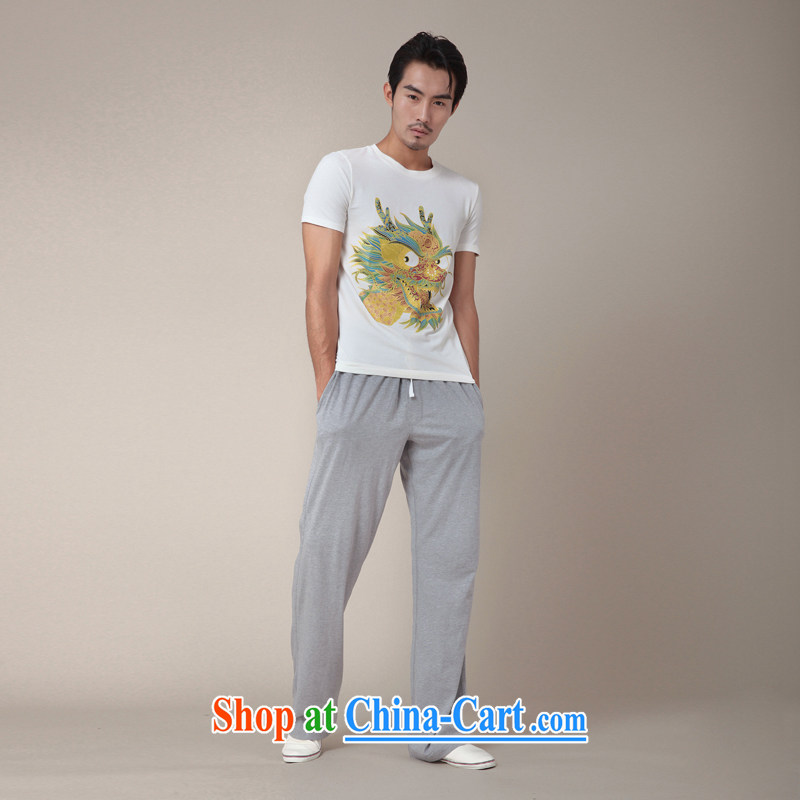 Fujing Qipai Tang without a road design, the Chinese short-sleeved hot stamp leading T pension new explosions, Chinese personality male and TEE 346 white XL, Fujing Qipai Tang (Design seventang), online shopping