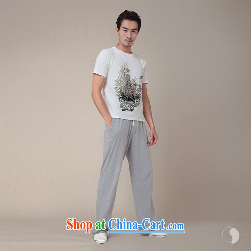 Fujing Qipai Tang no road design China wind 8 cents myth series summer Lu Dong Bin stamp new short-sleeved original Tang T-shirts male and TEE 336 white L, Fujing Qipai Tang (Design seventang), online shopping