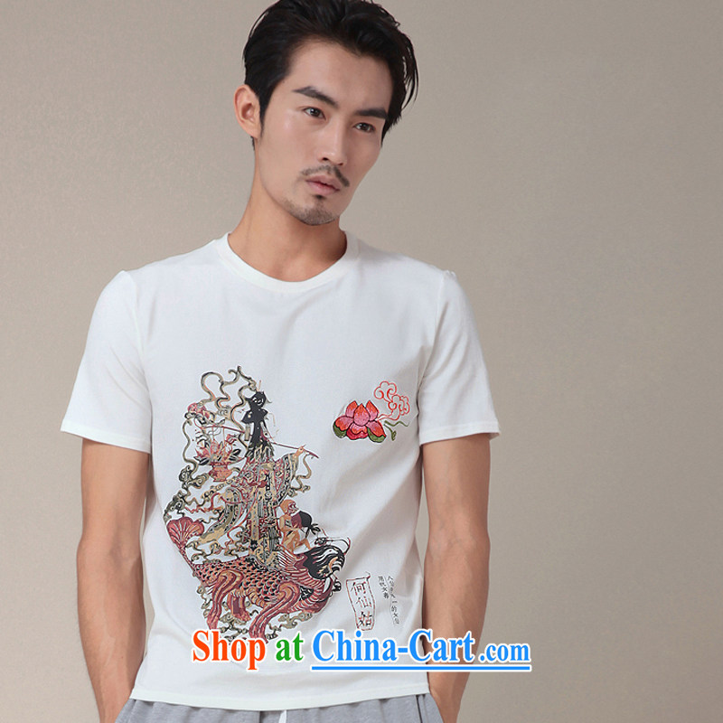 Fujing Qipai Tang no road original summer T T-shirt Chinese myth 8 cents Fairy Zixia what Chinese short-sleeved round neck stamp T-shirt male and TEE 334 white M