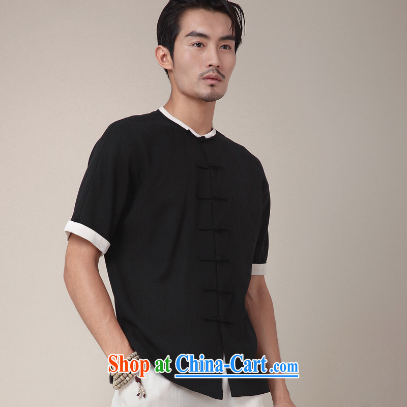 Fujing Qipai Tang China wind shirt linen Chinese upgrade day silk Chinese-tie-neck improved men's short-sleeved national summer T-shirt 360 black XL