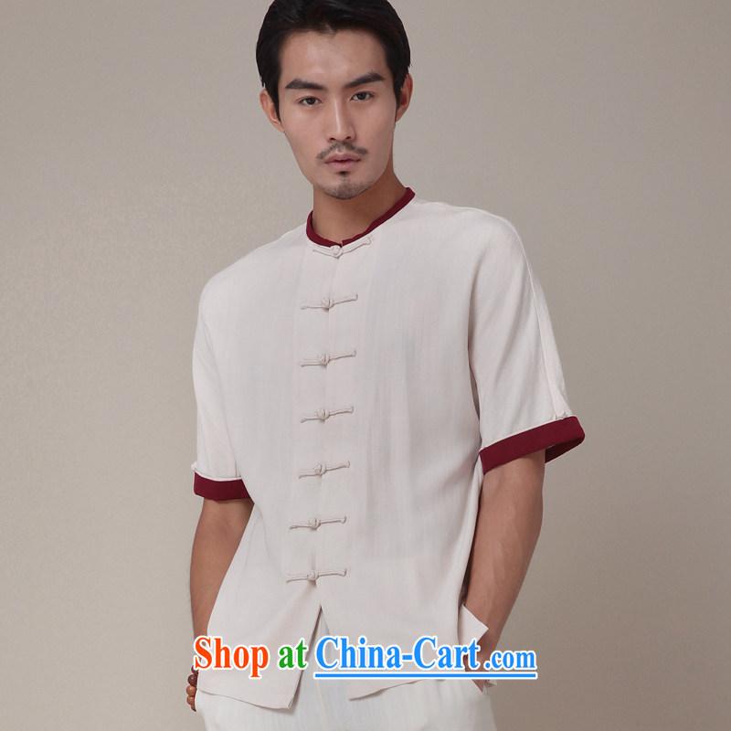 Fujing Qipai Tang China wind and short-sleeved upgrade Chinese cardigan day silk improved leisure Chinese round-collar short shirt national summer 364 white XL