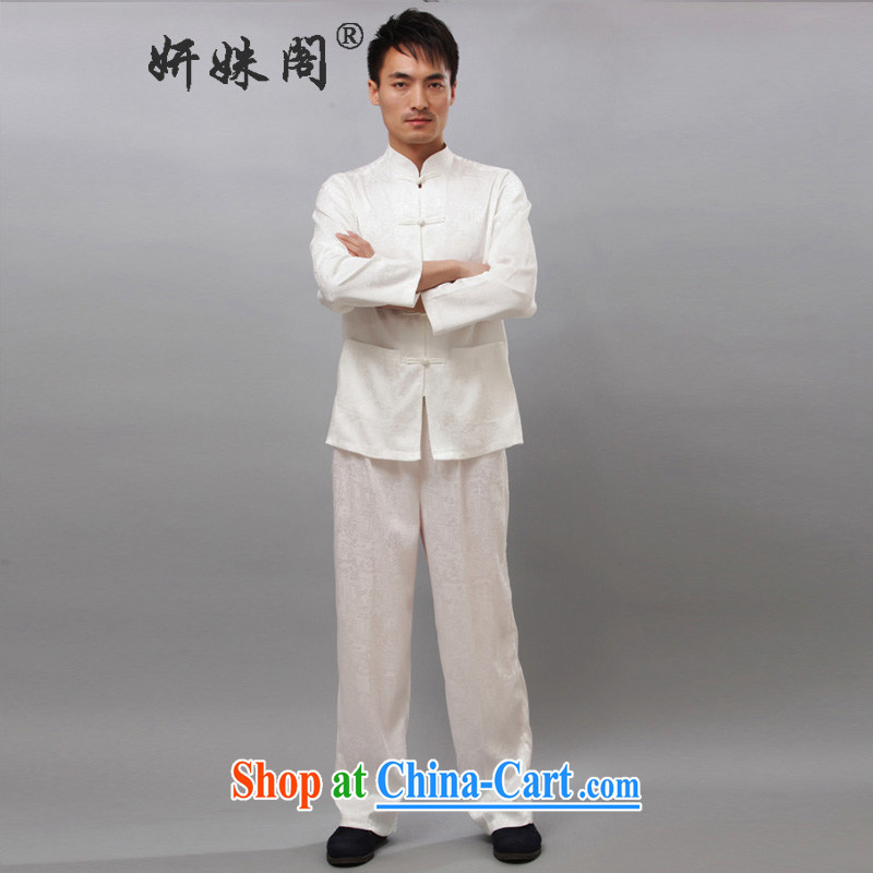 Yan Shu cabinet men's spring loaded Tang replace leisure Chinese T-shirt Tai Chi clothing traditional clothing exercise clothing morning exercises - the River During the Qingming Festival long-sleeved T-shirt white XL