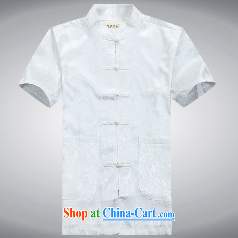Charlene this new middle-aged and older men's National wind Tang is a collar-tie casual short-sleeved set loose father exercise clothing - New short sleeve with white 4XL