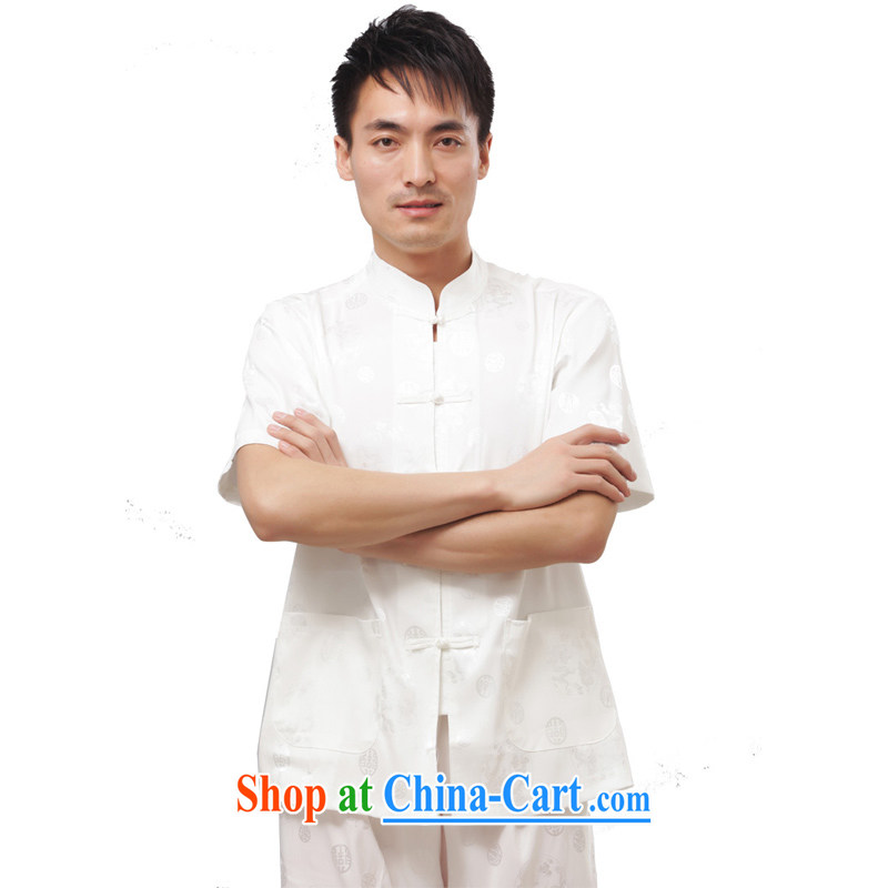 Yan Shu cabinet older men and summer wear traditional ethnic clothes Chinese Chinese loose exercise clothing, for the charge-back Casual Shirt - The Dragon short-sleeved white short-sleeved 4 XL