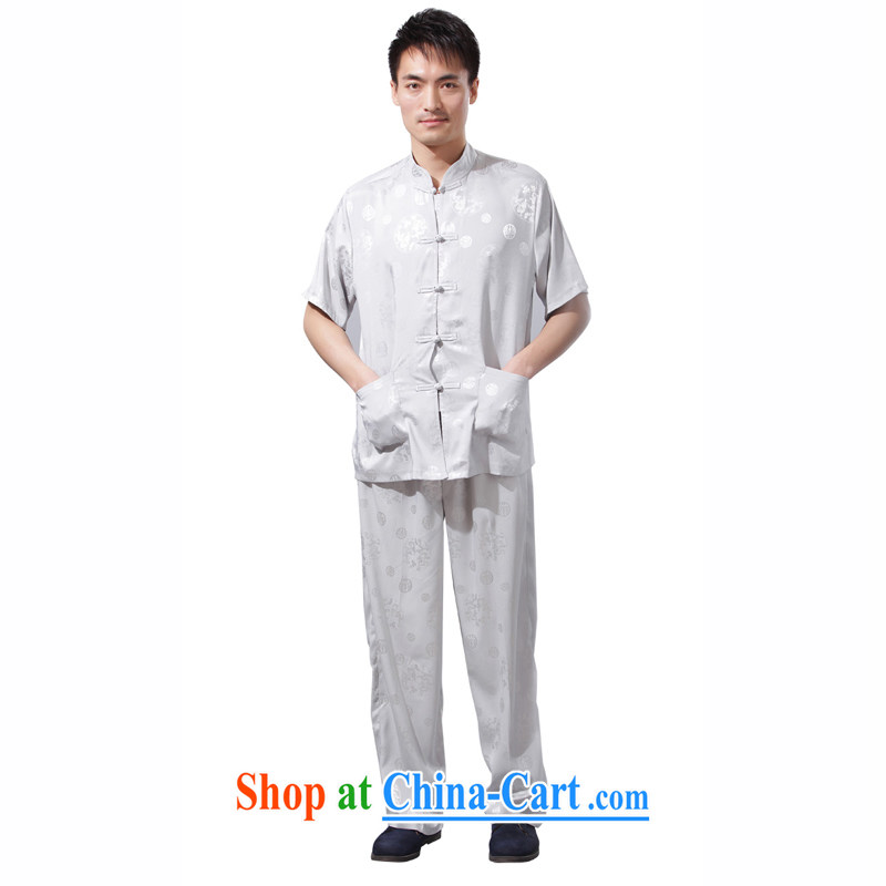 Yan Shu GE older men and summer Kung Fu Tang with my father loose exercise clothing, collar Kit Traditional casual - The Dragon short sleeve with light gray 4 XL