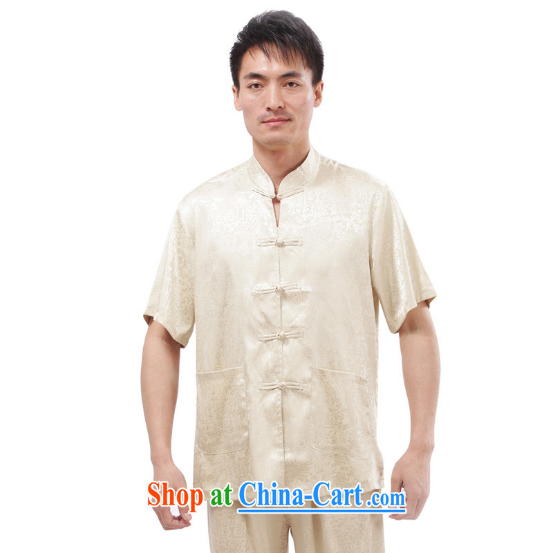 Yan Shu cabinet men Chinese leisure Chinese men and T-shirt Tai Chi clothing traditional clothing exercise clothing morning exercises - the River During the Qingming Festival short-sleeved T-shirt beige 4 XL