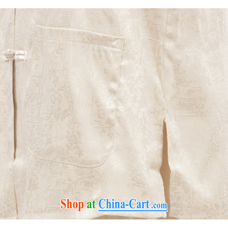This figure skating cabinet men Chinese leisure Chinese men and T-shirt Tai Chi clothing traditional clothing exercise clothing morning exercises - the River During the Qingming Festival short-sleeved T-shirt beige 4 XL, Charlene this Pavilion, shopping o
