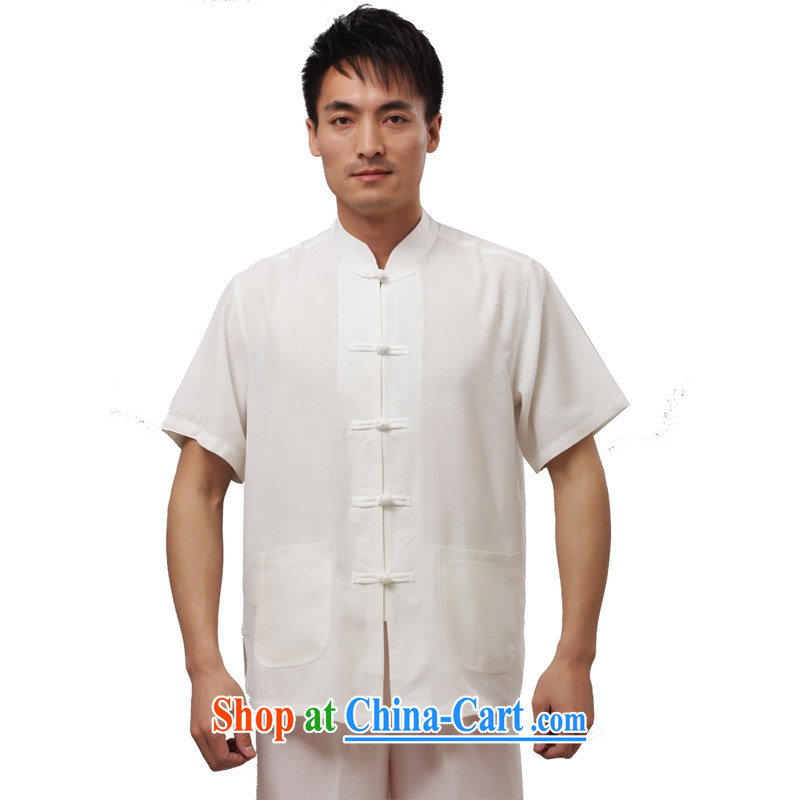 Yan Shu GE older men and the spring and summer, for the charge-back Tang with loose short-sleeved clothes traditional national costume T-shirt - Flat short-sleeve T-shirt white 4XL