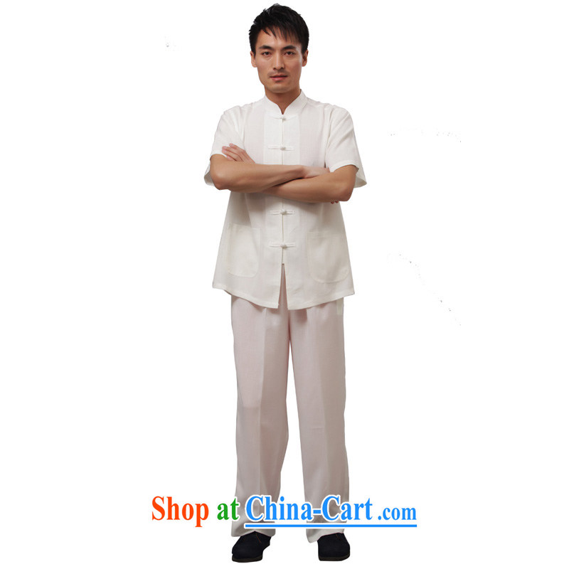Charlene this pavilion and the older men and summer national service short-sleeve kit Kung Fu Tang replacing loose exercise clothing, for solid color-plane short sleeve with white 4XL