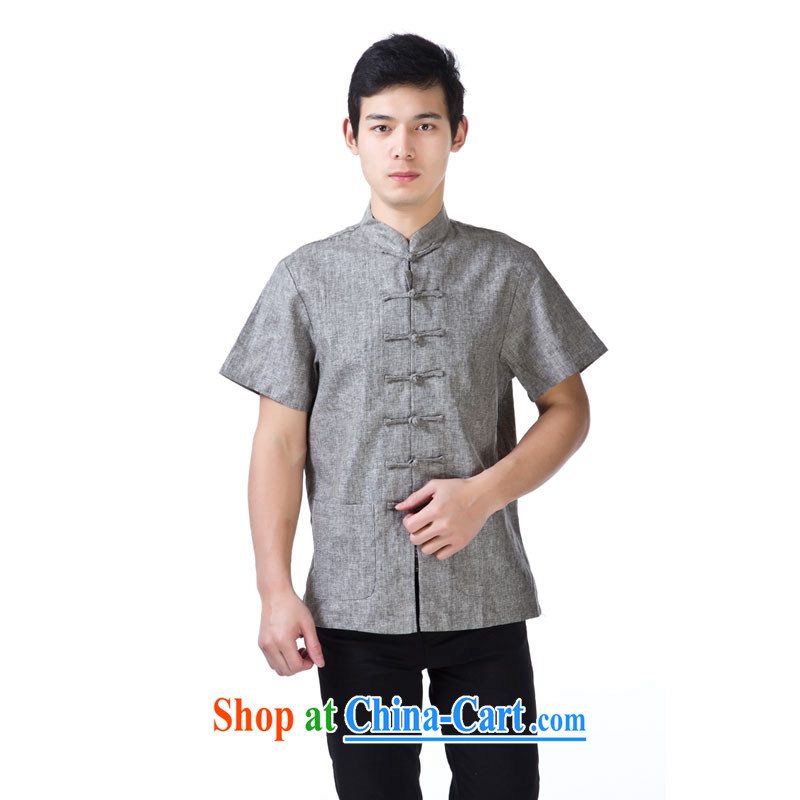 Yan Shu cabinet men's summer, older Chinese, for the charge-back short-sleeved T-shirt loose breathable pure cotton half sleeve old muslin nation - old muslin short light gray 4 XL
