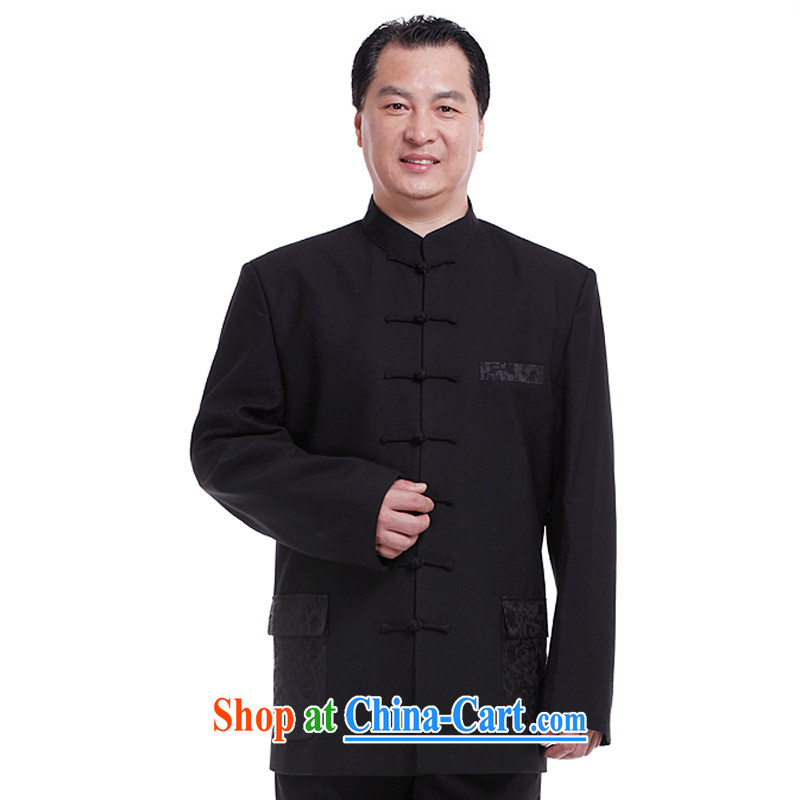 South of Nsongnian, Chinese men Tang with long-sleeved T-shirt Chinese clothing spring jackets black Chinese male jacket Z 6036 black 185_XXL