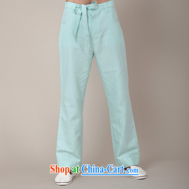 Fujing Qipai Tang Chinese style Tai Chi pants Chinese cotton the trousers Elasticated waist relaxed pants improved Chinese male pants kung fu trousers autumn new 381 mint green L